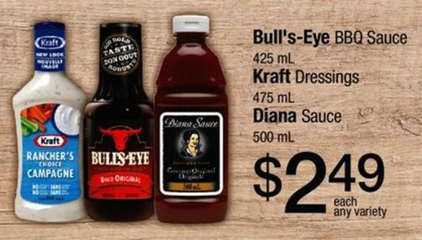 Bull's-eye Bbq Sauce - 425 Ml Kraft Dressings - 475 Ml Diana Sauce - 500 Ml