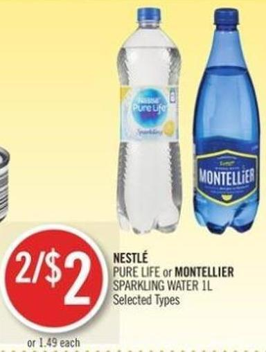 Nestl� Pure Life or Montellier Sparkling Water 1l