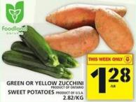 Green Or Yellow Zucchini Or Sweet Potatoes