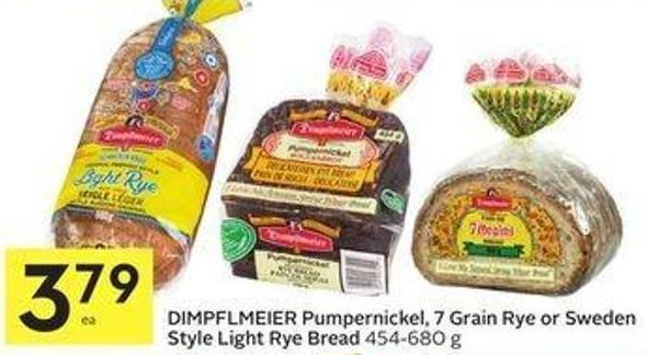 Dimpflmeier Pumpernickel - 7 Grain Rye or Sweden Style Light Rye Bread 454-680 g