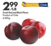 Fresh Red and Black Plums