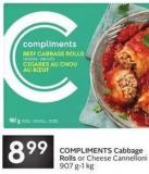 Compliments Cabbage Rolls or Cheese Cannelloni 907 G-1 Kg