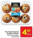 Your Fresh Market Muffins 6-pack 600 g