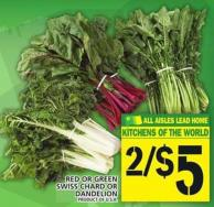 Red Or Green Swiss Chard Or Dandelion