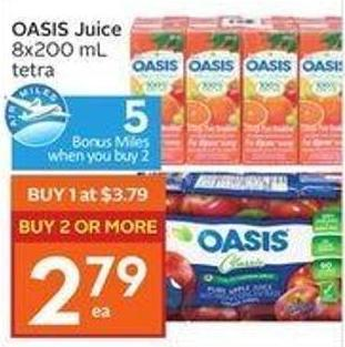 Oasis Juice 8x200 mL Tetra - 5 Air Miles