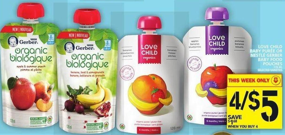 Love Child Baby Purée Or Nestlé Gerber Baby Food Pouches