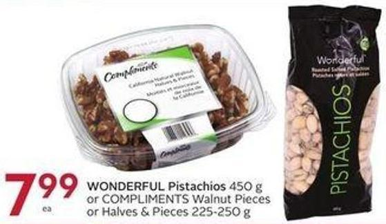Wonderful Pistachios 450 g or Compliments Walnut Pieces or Halves & Pieces 225-250 g