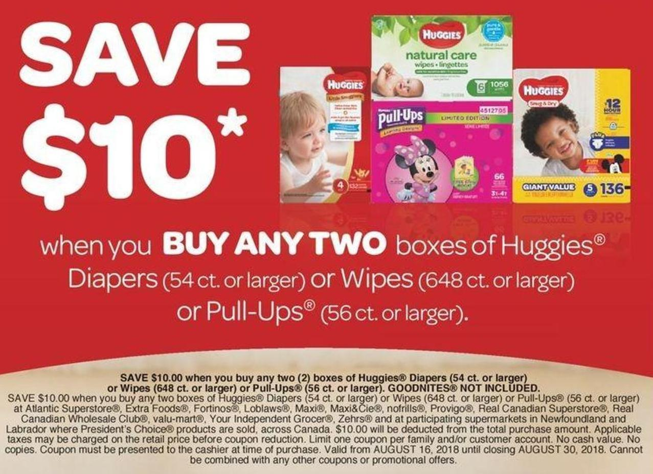Huggies Diapers - 54 Ct. Or Larger Or Wipes - 648 Ct. Or Larger Or Pull-ups - 56 Ct. Or Larger.