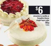 Strawberry Vanilla Or Campfire Theme Single Layer Cake - 500 g