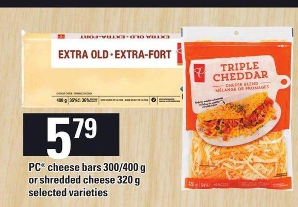 PC Cheese Bars 300/400 g Or Shredded Chees