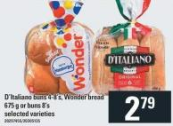 D'italiano Buns 4-8's - Wonder Bread 675 G Or Buns 8's