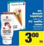 PC Dessert Toppings 428 Ml Or PC Waffle Cones 120/200 G