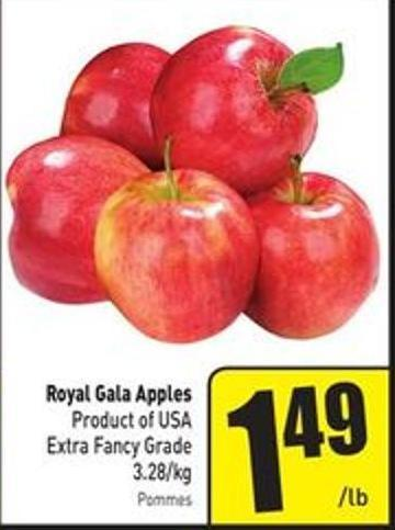 Royal Gala Apples Product of USA Extra Fancy Grade 3.28/kg