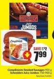 Compliments Smoked Sausages 900 g Schneiders Juicy Jumbos 750-900 g
