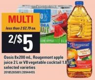 Oasis 8x200 Ml - Rougemont Apple Juice 2 L Or V8 Vegetable Cocktail 1.89 L