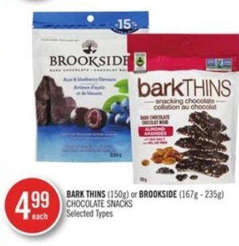 Bark Thins (150g) or Brookside (167g - 235g) Chocolate Snacks