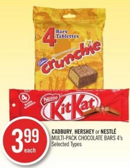 Cadbury - Hershey or Nestlé Multi-pack Chocolate Bars 4's