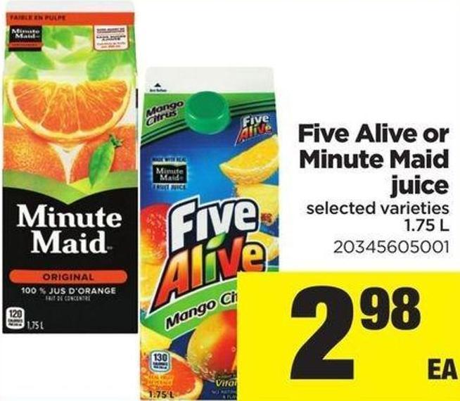 Five Alive Or Minute Maid Juice - 1.75 L
