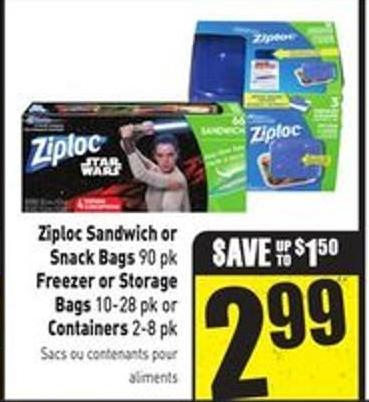 Ziploc Sandwich or Snack Bags 90 Pk Freezer or Storage Bags 10-28 Pk or Containers 2-8 Pk