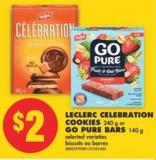 Leclerc Celebration Cookies - 240 g or Go Pure Bars - 140 g