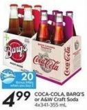 Coca-cola - Barq's or A&w Craft Soda 4x341-355 mL - 20 Air Miles Bonus Miles