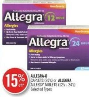 Allergra-d Caplets (20's) or Allera Allergy Tablets (12's-24's)