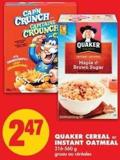 Quaker Cereal Or Instant Oatmeal - 216-560 G