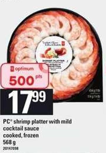 PC Shrimp Platter With Mild Cocktail Sauce Cooked - 568 g