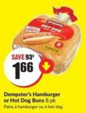 Dempster's Hamburger or Hot Dog Buns 8 Pk