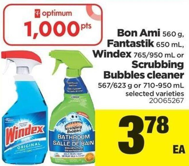 Bon Ami 560 G - Fantastik 650 Ml - Windex 765/950 Ml Or Scrubbing Bubbles Cleaner 567/623 G Or 710-950 Ml