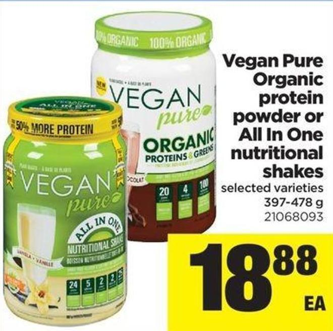 Vegan Pure Organic Protein Powder Or All In One Nutritional Shakes - 397-478 G