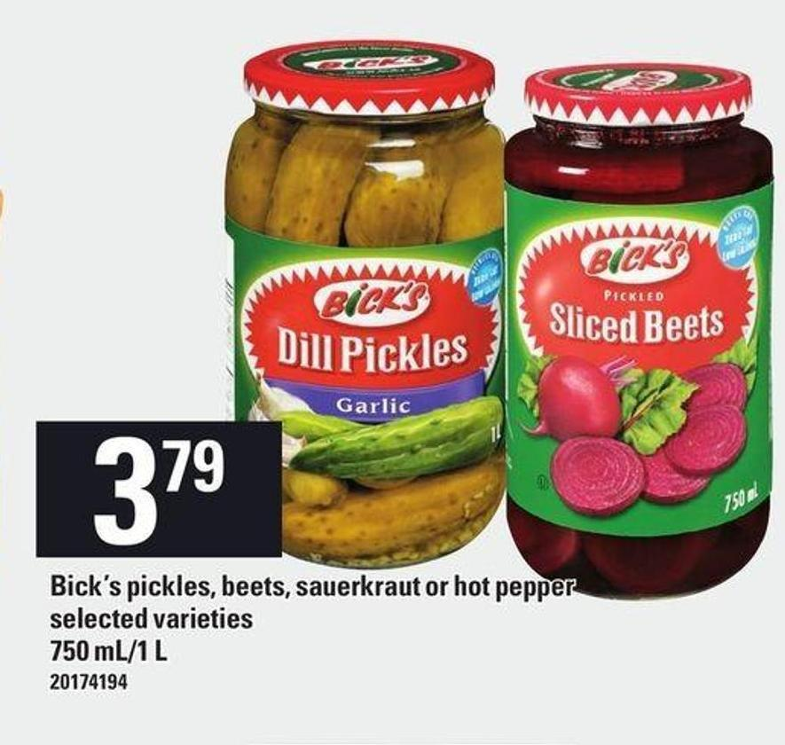 Bick's Pickles - Beets - Sauerkraut Or Hot Pepper - 750 Ml/1 L