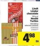 Lindt Lindor Chocolate 150 G Or Nestlé Turtles 134/200 G
