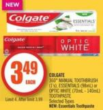 Colgate  360° Manual Toothbrush (1's) - Essentials (98ml) or Optic White (70ml - 140ml) Toothpaste