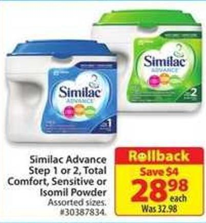 Similac Advance Step 1 or 2 - Total Comfort - Sensitive or Isomil Powder