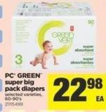 PC Green Super Big Pack Diapers - 60-90's