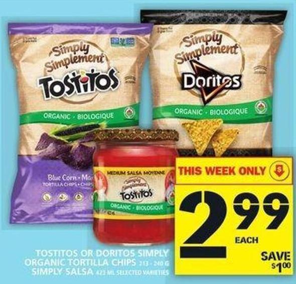 Tostitos Or Doritos Simply Organic Tortilla Chips Or Simply Salsa