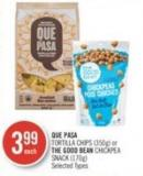 Que Pasa Tortilla Chips (350g) or The Good Bean Chickpea Snack (170g)