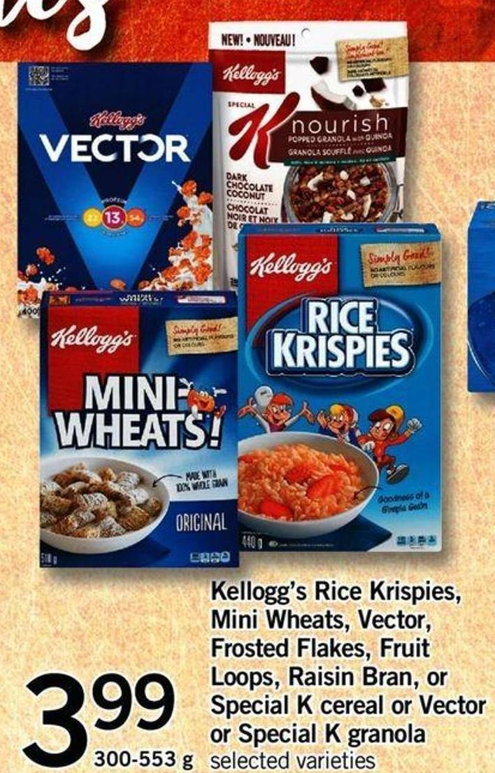 Kellogg's Rice Krispies - Mini Wheats - Vector - Frosted Flakes - Fruit Loops - Raisin Bran - Or Special K Cereal Or Vecto Or Special K Granola - 300-553 G