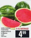 Jumbo Seedless Watermelon - 11 Lb Average