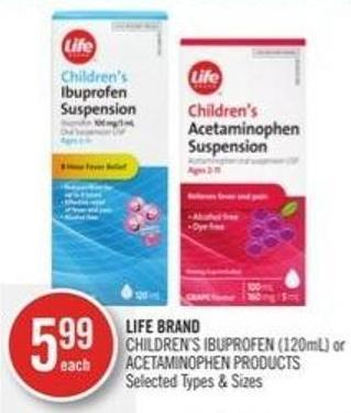 Life Brand Children's Ibuprofen (120ml) or Acetaminophen Products