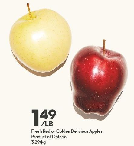 Fresh Red or Golden Delicious Apples