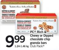 PC Rich & Chewy Or Dipped Chocolate Chip Granola Bars - 1.24-1.46 Kg