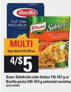 Knorr Sidekicks Side Dishes - 116-167 g Or Barilla Pasta - 340-454 g
