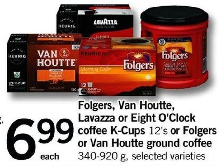 Folgers - Van Houtte - Lavazza Or Eight O'clock Coffee K-cups 12's Or Folgers Or Van Houtte Ground Coffee - 340-920 G