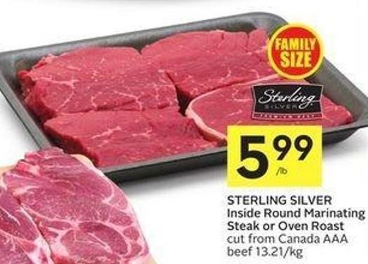 Sterling Silver Inside Round Marinating Steak or Oven Roast