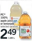 PC 100% Apple Juice Or Lemonade - 1.89 L