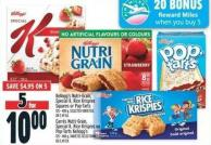 Kellogg's Nutri-grain - Special K - Rice Krispies Squares Or Pop-tarts 125 - 400 g