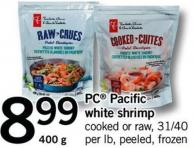PC Pacific White Shrimp - Cooked Or Raw - 31/40 Per Lb - 400 G