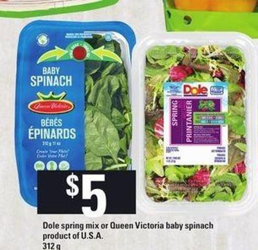 Dole Spring Mix Or Queen Victoria Baby Spinach - 312 g